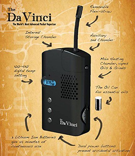 The Da Vinci is probably the best portable vaporizer for cannabis that you can buy. It gives off real clean hit like the vapour from volcano and has the same type of oven as a volcano.