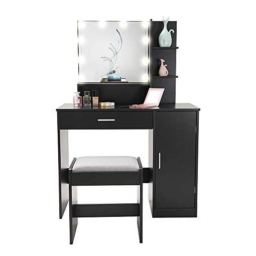Vanity Set With 10 Light Bulbs Makeup Table Vanity Dressing Table 1 Large Drawer 1 Storage Cabinet 1 Cushioned Stool For Bedroom Bathroom Black In 2020 Makeup Table Vanity Vanity Table Set Makeup Table