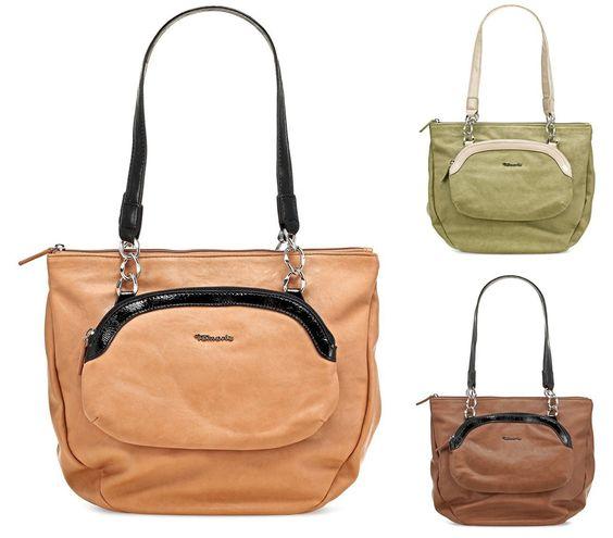 TAMARIS Shopper DOLORES, Handtasche, mit Frontfach, Lack-Akzente, 3 Farben: nut braun, peppermint grün oder candy, Farbe:pepermint grün: Ama...