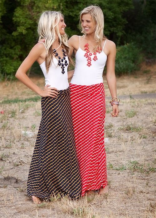 maxi skirts & statement necklaces. Cute with a denim jacket or cardigan. Love these!