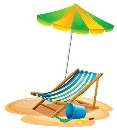 Illustration Of A Beach Chair And An Umbrella Beach Chairs Umbrella Chair