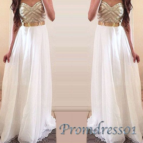 Beaded white chiffon gold sash long prom dress with belt, evening dress for teens, prom dress 2016 #coniefox #2016prom