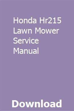 Honda Hr215 Lawn Mower Service Manual