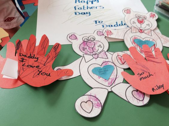 Father's Day craft with cut out hand prints