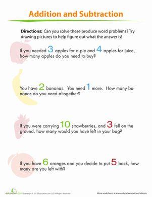 math worksheet : addition and subtraction for kids  addition and subtraction word  : Addition Problem Solving Worksheets