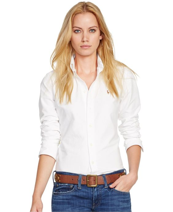 Polo Ralph Lauren Long-Sleeve Oxford Shirt - Tops - Women - Macy\u0026#39;s $59.99