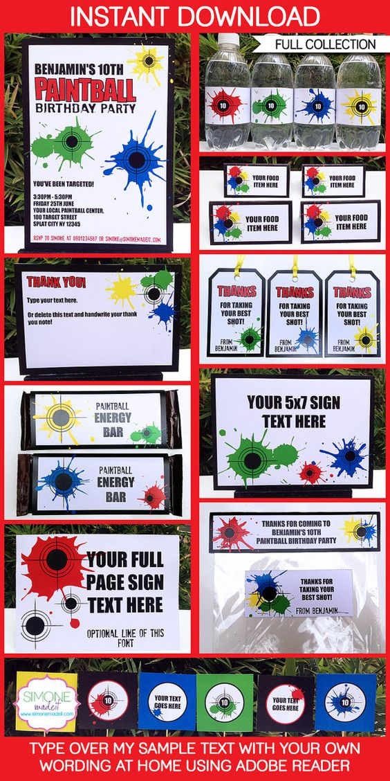 Paintball Birthday Party  INSTANT DOWNLOAD full by SIMONEmadeit, $14.95