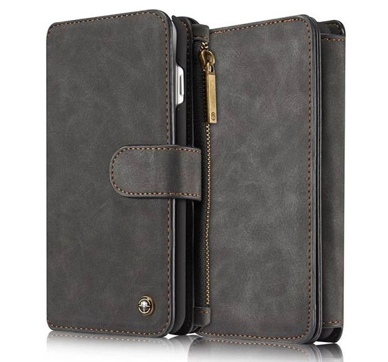 CaseMe 007 iPhone 7 Plus Retro Flannelette Leather Detachable 2 in 1 Multifunctional Wallet Case Black