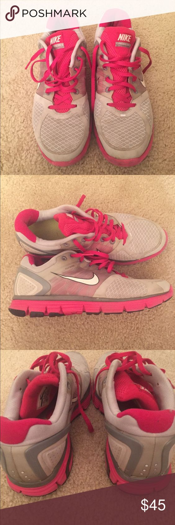 Women's Nikes Pink and light gray Nike lunarglide 2 running sneakers! Size 10! Nike Shoes Athletic Shoes