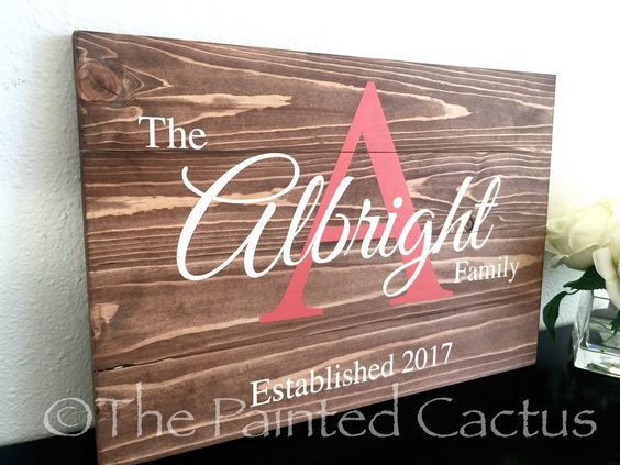 Pallet Style Family Monogram Sign, Wedding Gift, Anniversary Gift