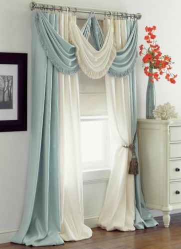 Image via  A very narrow room, but it works well as a sewing studio - the 'living curtain' idea is fantastic - and then there's the FLOOR!   Image via  DIY Curtain Tie I need this for the mas