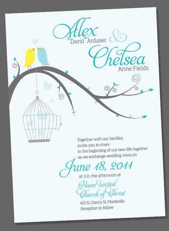 adorable bird wedding invite