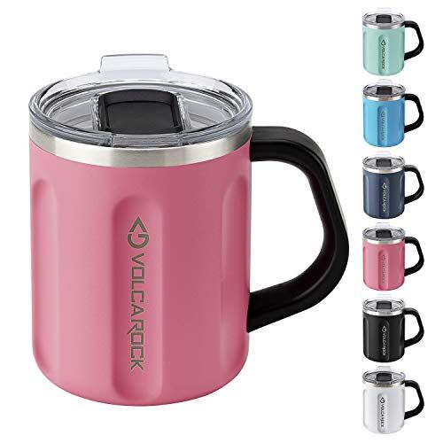 Volcarock 16 Oz Coffee Mug With Handle 16oz Insulated Stainless Steel Reusable Coffee Cup Double Wall Coffee Tr Reusable Coffee Cup Coffee Travel Coffee Cups