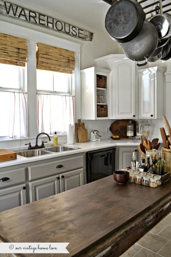 painted kitchen cabinets white uppers and gray lowers with Annie ...