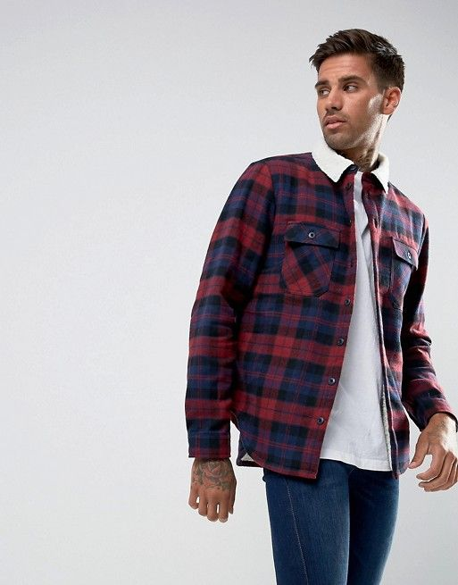 Another Influence Checked Overshirt with Fleece Lining