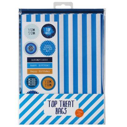 Rêves & Merveilles -  Pack of 12 retro paper treat bags / Ravissantespochettes cadeau en papier à rayures bleues et blanches.
