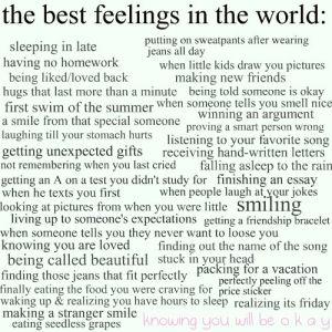 The best feelings in the world:
