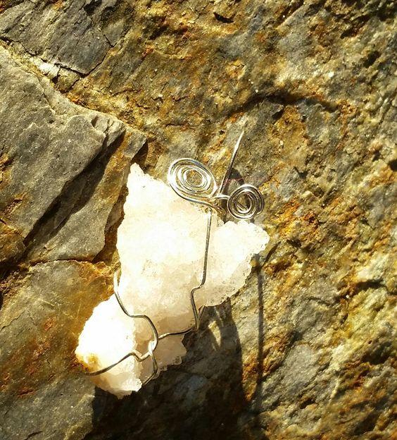 White Druzy Quartz Gemstone Pendant, wire wrapped druzy quartz, white druzy gemstone by CCGemstoneJewelry on Etsy