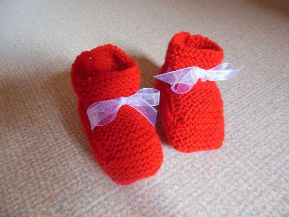 Chaussons bébé coloris rouge ruban organza blanc : Mode Bébé par logique