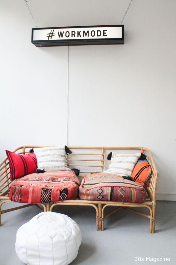 rattan bench bohemian style: