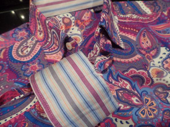 Alan Flusser MENS Purple Pink Fushcia L/S Reverse Cuffs Shirt NEW Paisley S HOT #AlanFlusser #ButtonFront