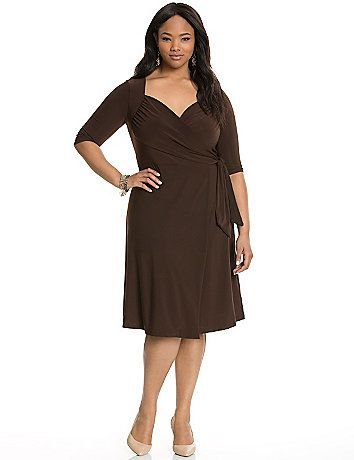 Sweetheart wrap dress by Kiyonna takes you everywhere with its feminine, flattering versatility. The classic wrap silhouette gets a fresh detail with shirring to create a charming sweetheart neckline. Soft knit offers comfort and a fluid, flattering drape, with an attached tie belt closure for a fully adjustable fit. 3/4 sleeves.    lanebryant.com