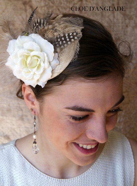 Bibi Mariage Petit chapeau écru Sisal et Plumes pour