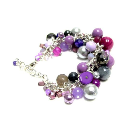 Purple mixed bead bracelet set by beadstreetgallery on Etsy