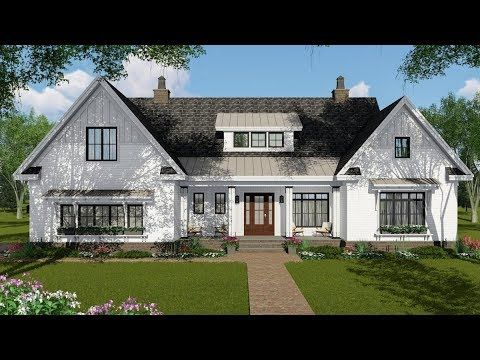 Plan 14674rk 4 Bed New American Farmhouse Plan With Bonus Over Garage Farmhouse Style House Farmhouse Style House Plans Farmhouse Plans