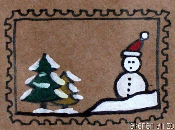 Kerstpostzegels;  Teken een klein kersttafereeltje op bruin papier. Kleur in met viltstift. Witte vlakken kunnen worden ingekleurd met correctievloeistof. Omlijn alles met een fineliner. Teken een kartelrand om de tekening of knip hem uit met een kartelschaar.