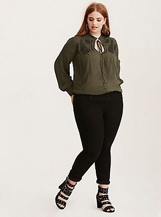 Embroidered Challis Tie Front Blouse from Torrid