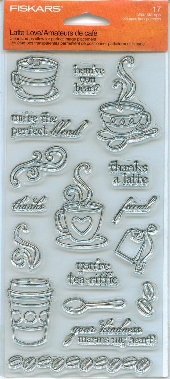 Fiskars Clear Rubber Stamp Set Latte Love Coffee Tea Cups