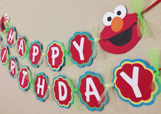 Elmo Birthday Banner red yellow green by CelebrationBanner on Etsy, $35.00