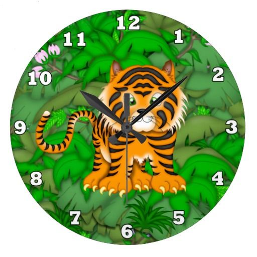 Baby Tiger Jungel wall clock