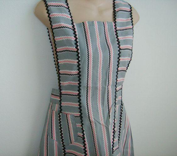SALE Vintage Apron Pinafore Cobbler pink gray southwest stripe cotton 60's handmade. $15.00, via Etsy.