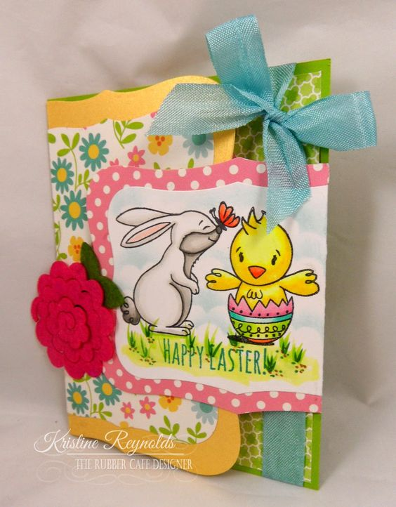 Easter Joy Fold Card #The Rubber Cafe' #Easter Card #Fun Fold Card #Kristine Reynolds