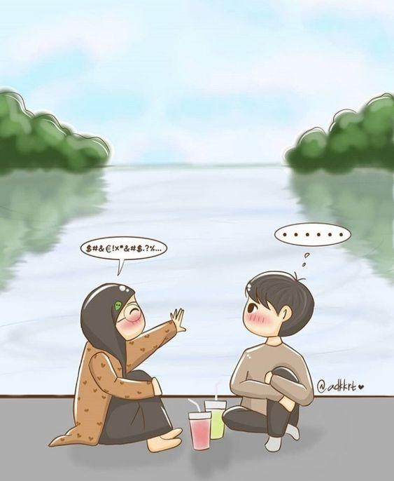 kumpulan Muslimah Kartun Cute Couple baru