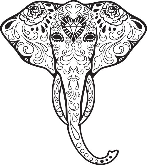 Sugar Skull Elephants Advanced Coloring 3