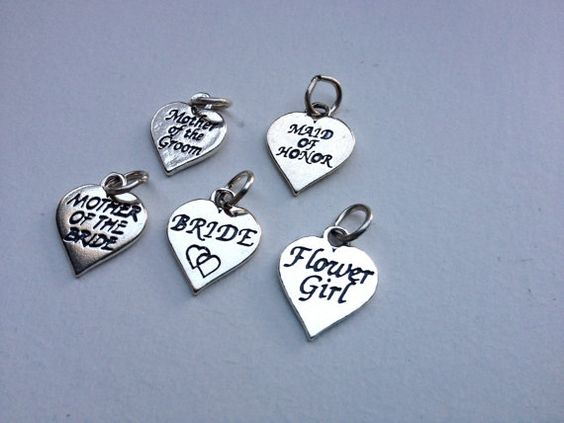 Sterling Silver Wedding Party Charms  5 Pieces by ElementBeads, $42.00
