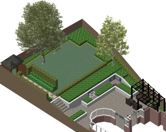 3 d cad model of garden design for a sloping family garden in reading