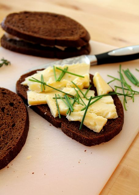 Chive and Cheddar on pumpernickel by Adventuress Heart, via Flickr