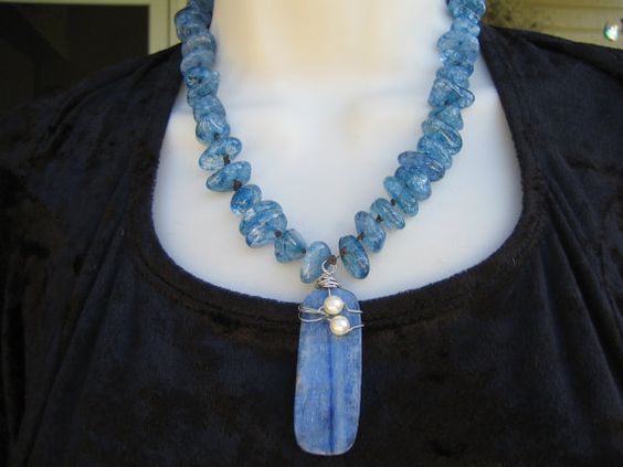 Gem Stone Necklace Blue Stone Pendant Blue by purplesage333