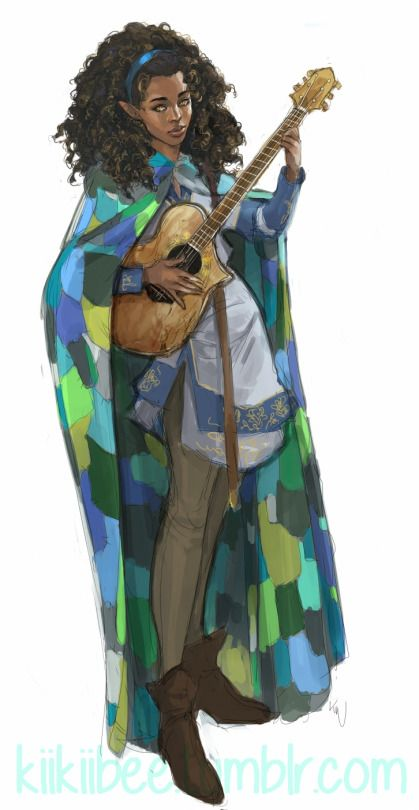 Female half-elf Bard - Pathfinder PFRPG DND D&D d20 fantasy