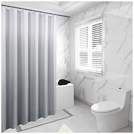 Bermino Textured Fabric Bath Shower Curtain Ombre Shower
