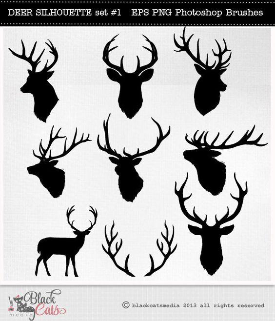 Hirsch-Kopf-Silhouetten - Rentier - Geweih Clipart - Deer ClipArt - Vektor-EPS PNG und Photohshop Bürsten-Hirsch-Cliparts-Hirsch-Silhouetten