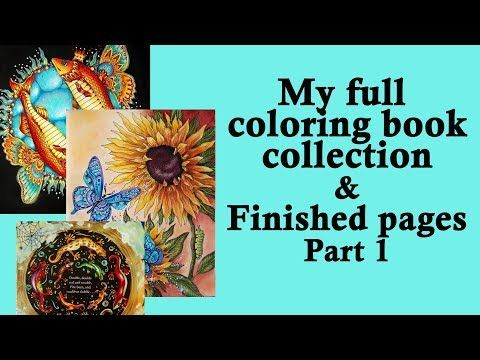 21 My Coloring Book Collection And All Finished Pages Part 1 Coloring With Alena Youtube Coloring Books Book Collection Children Book Cover