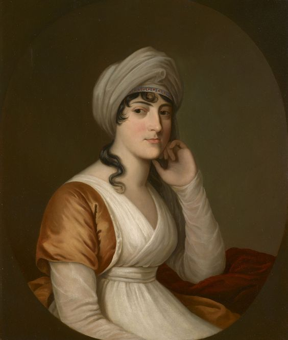 Portrait of Princess Sophia of Saxe-Coburg-Saalfeld (1778-1835), half-length, seated, facing three-quarters to the right; her left elbow rests on a surface covered by red drapery; she wears a white robe with a small yellow 'bolero' jacket and