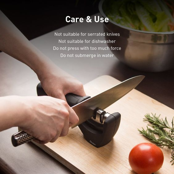 A dull knife is a dangerous knife. Seasoned cooks know that keeping your knives sharp is the key to avoid forced, dangerous slips. Aboden 3-stage knife sharpener is a well-made sharpening system that precisely sharpens straight-edge knives, including chef knives, butcher knives, Asian-style knives and sport knives. It is easy to use and manufactured with the user's safety in mind.