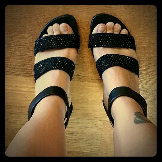 Kenneth Cole Reaction platform heels Black studed leather strap heels Kenneth Cole Reaction Shoes Heels
