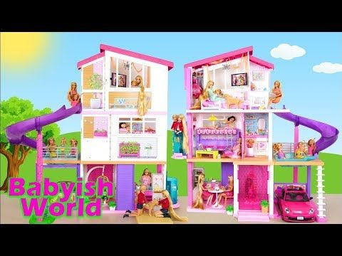 Barbie Doll House Set Unboxing Babyish World Toy Unboxing Play For Kids Barbie Doll House Barbie Dream House Kids Playing